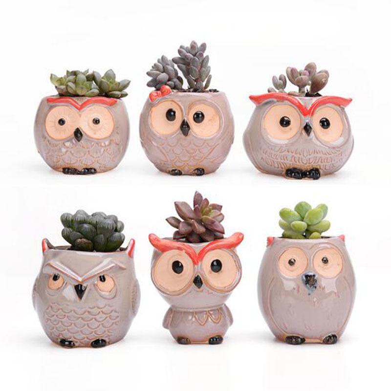 6 Pcs-set Mini Owl Flowerpot Plant Flower Pot Home Office Decor Planter Succulent Cactus Bonsai Plant Holder Garden decoration (4)
