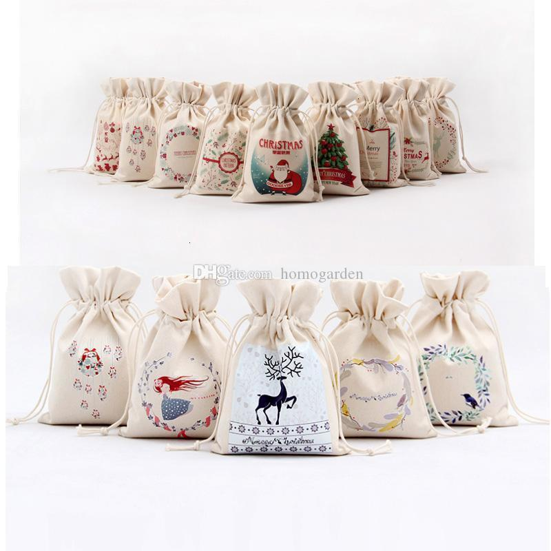 IN Stock!!!Free DHL Christmas Gift Bag Pure Cotton Canvas Drawstring Sack Bags 12 Stypes With Xmas Santa Design For Gifts Candy