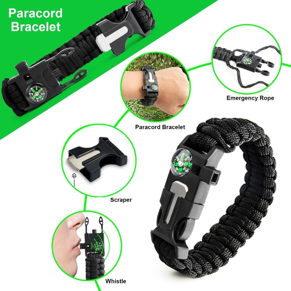Outdoor Survival Gear Kit Emergency Hiking Accessories For Survival In The Forest With Thermal Blanket Survival Bracelets Tactical First Aid Pouch Equitment Tool for tourism Outdoors Sport (2)