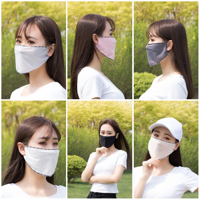 Sunscreen Respirator Dust Prevention Face Shield Reuseable Mask Women Fashion Iced Silk Sunshade Hanging Ear Thin Outdoor Sport 0 79kb D2