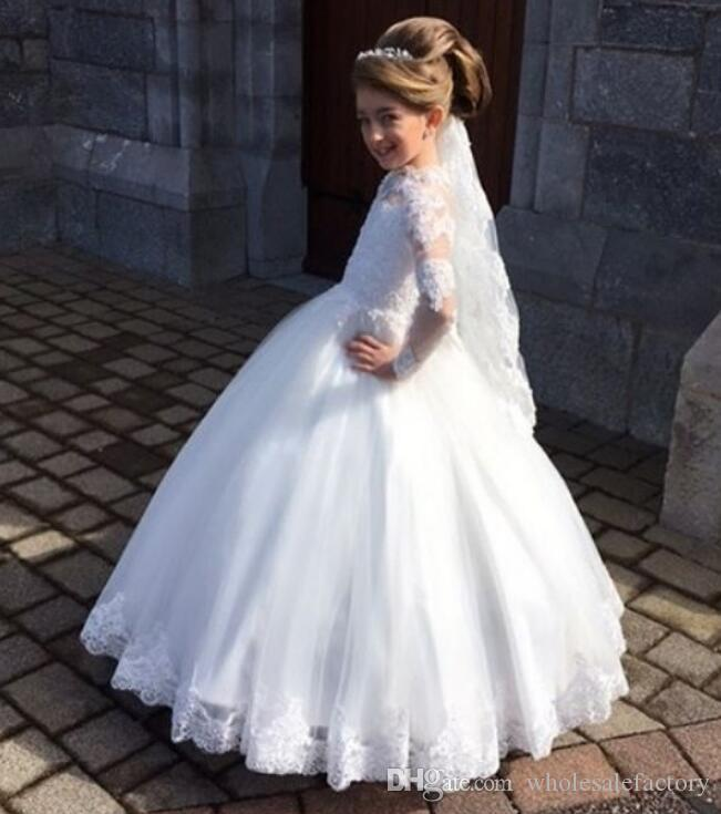 Elegant Lace Flower Girls' Dresses Long Sleeves High Neck Tulle Applique Princess Ball Gown Birthday Girls' Pageant Dresses