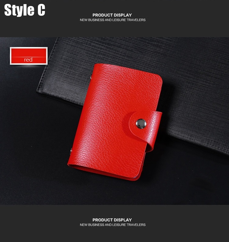 New PU Leather Function 24 Bits Card Case Business Card Holder Men Women Credit Passport Card Bag ID Passport Wallet