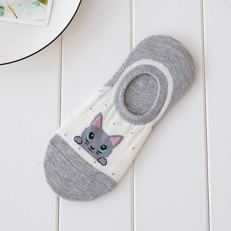 Women Cartoon Cat Summer Cotton Low Cut No Show Cotton Boat Socks