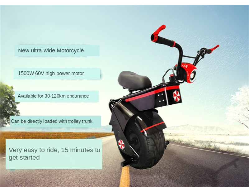 Electric Scooter 1500W One Wheel Self-balancing Scooter Motorcycle Seat 110KM 60V Electric Monowheel Scooter 18 Inch Wide Wheel (20)