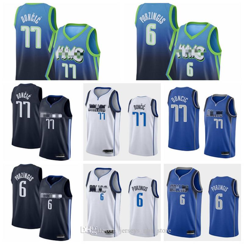2020 Men Basketball Cheap Luka Doncic Jersey 77 Kristaps Porzingis 6 Dirk Nowitzki 41 Edition Earned City Stitched Navy Blue Black White