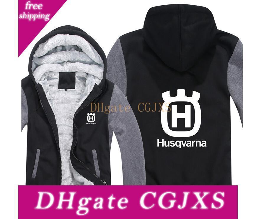 Unisex Spring and Autumn Long Sleeve Clothes Digital Husqvarna Print Velvet Zip Hoodie Loose Casual Sportswear