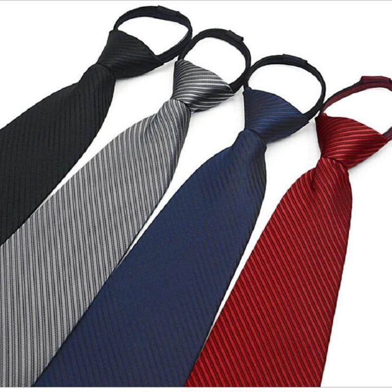 9cm zipper tie men's business necktie zip polyester neck tie black red blue ascot wedding team security men 4S shop