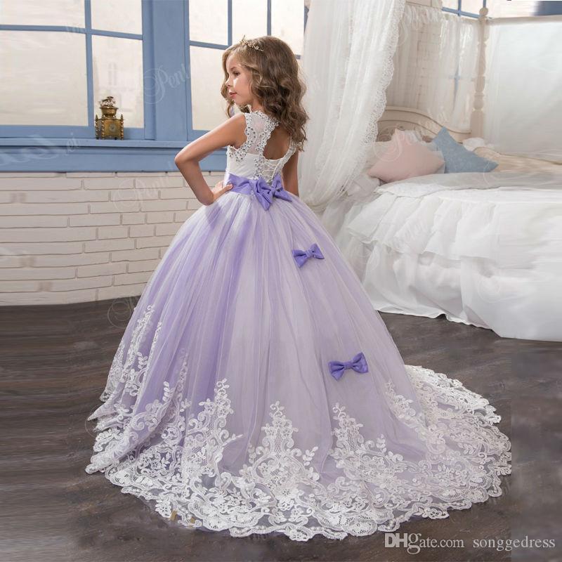 2020 Princess Lilac Little Bride Long Pageant Dress for Girls Glitz Puffy Tulle Prom Dress Children Graduation Gown Vestido