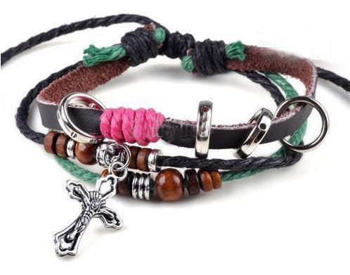 Multi styles * Men Women Braid Leather Cord Bead Cross Heart Bracelet Wristband Hemp Surfer