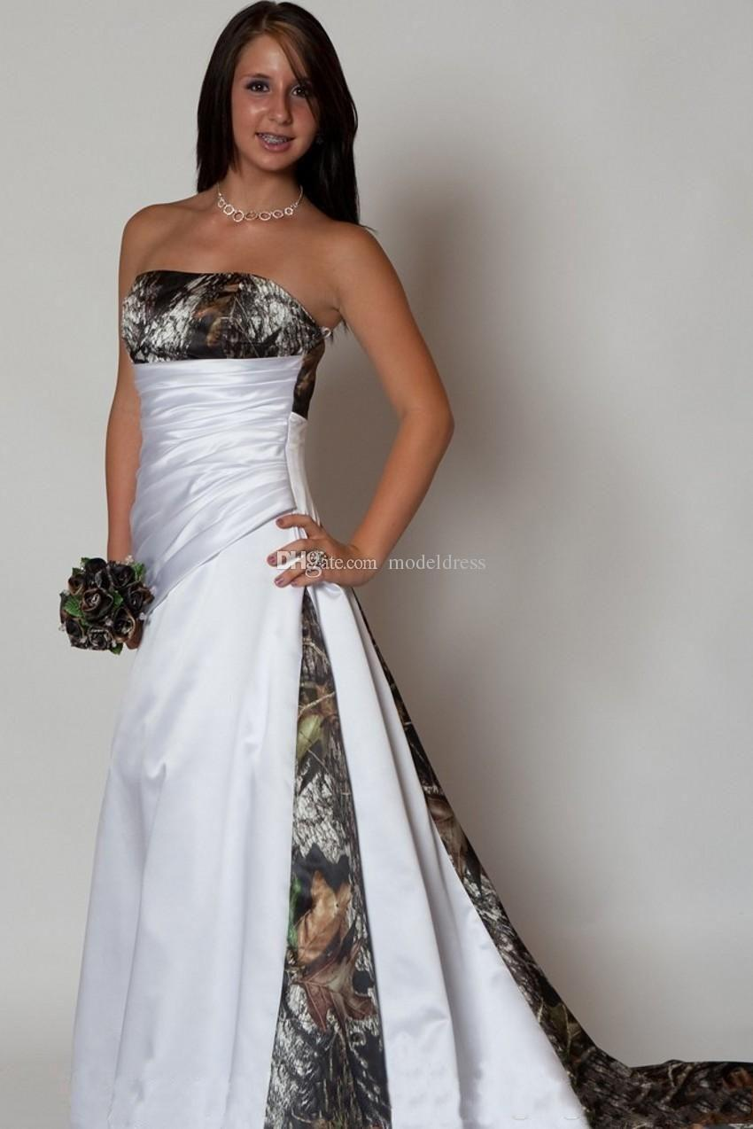 New Design Camo Wedding Dress 2020 Strapless Pleats A Line Sweep Train Satin Country Beach Bridal Gowns Plus Size Cheap Custom Made