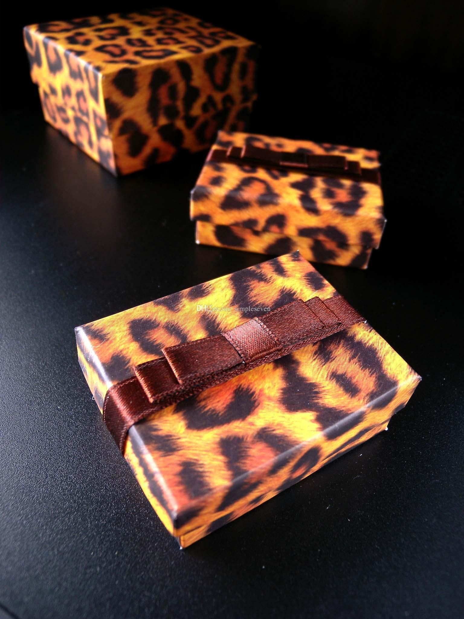 [Simple Seven]Lovers Ring Box/Leopard Printing Pedant Box/ Fashion Necklace Package/ Special Jewelry Case/Trend Earring Studs Box Ribbon