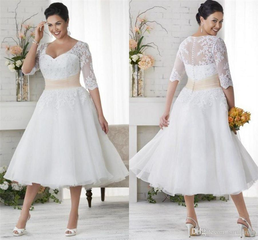 A Line Knee Length Tulle Custom Wedding Dress Bridal Gowns White Plus Size Lace Half Sleeve Sweetheart Sash Crystal Short Wedding Dresses