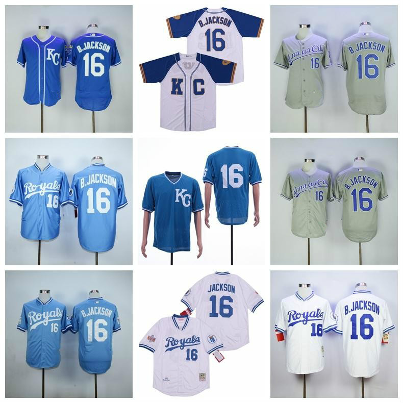 Kansas city baseball BP Baseball 1985 1980 1987 Retire 16 Bo Jackson Jersey Flexbase Cool Base jersey 09