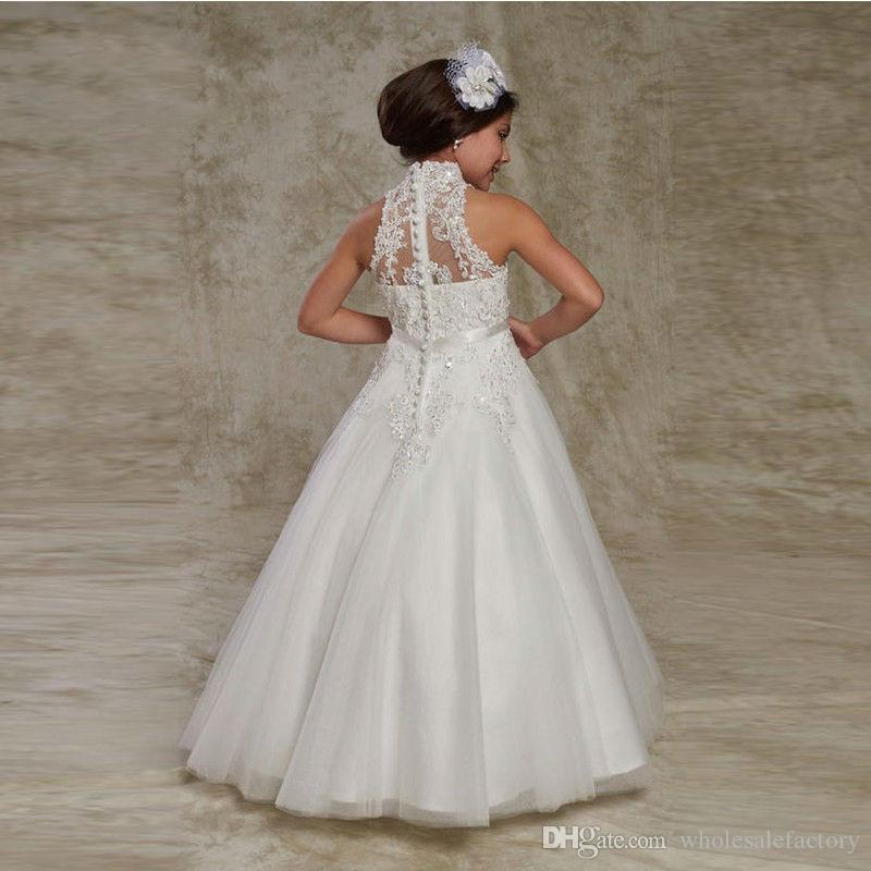 White High Neck Tulle Lace A Line Flower Girl Dress Applique Beaded Bow Sash Girls Pageant Dresses Birthday Party Dress