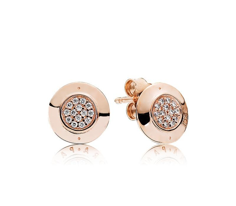 Classic design Luxury 18K Rose gold Signature Stud Earrings Original Box for Pandora 925 Sterling Silver Women Earring Set