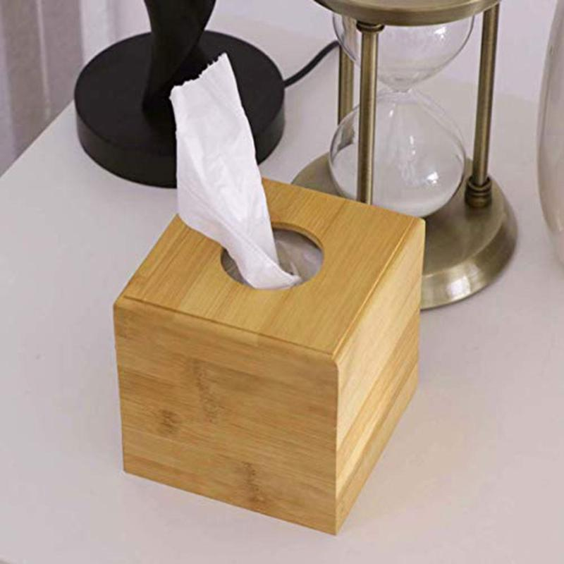 Box Tissue Bamboo Cover Holder Paper Square Wood Home Case Storage Natural New