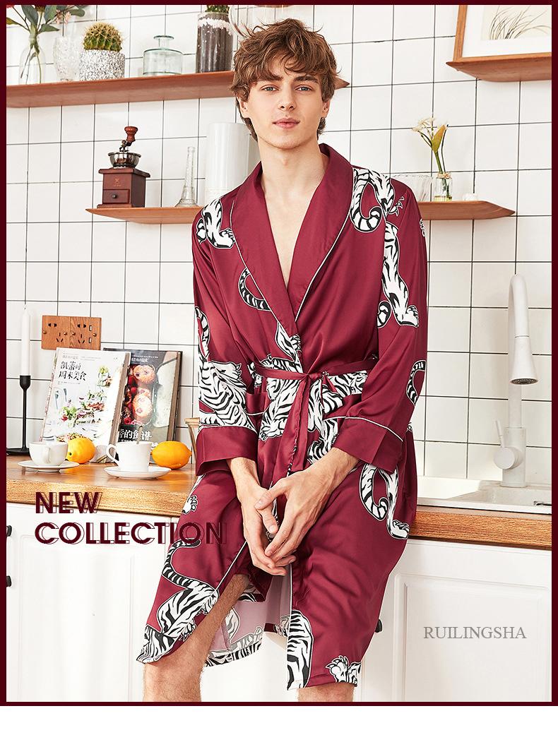 2021 Men Satin Kimono Summer Silk Bathrobe Red Tiger Knee Length Long Sleeve Bath Robe Dark Green Dressing Gown For Male Sleepwear Cx200813 From Dang01 20 69 Dhgate Com