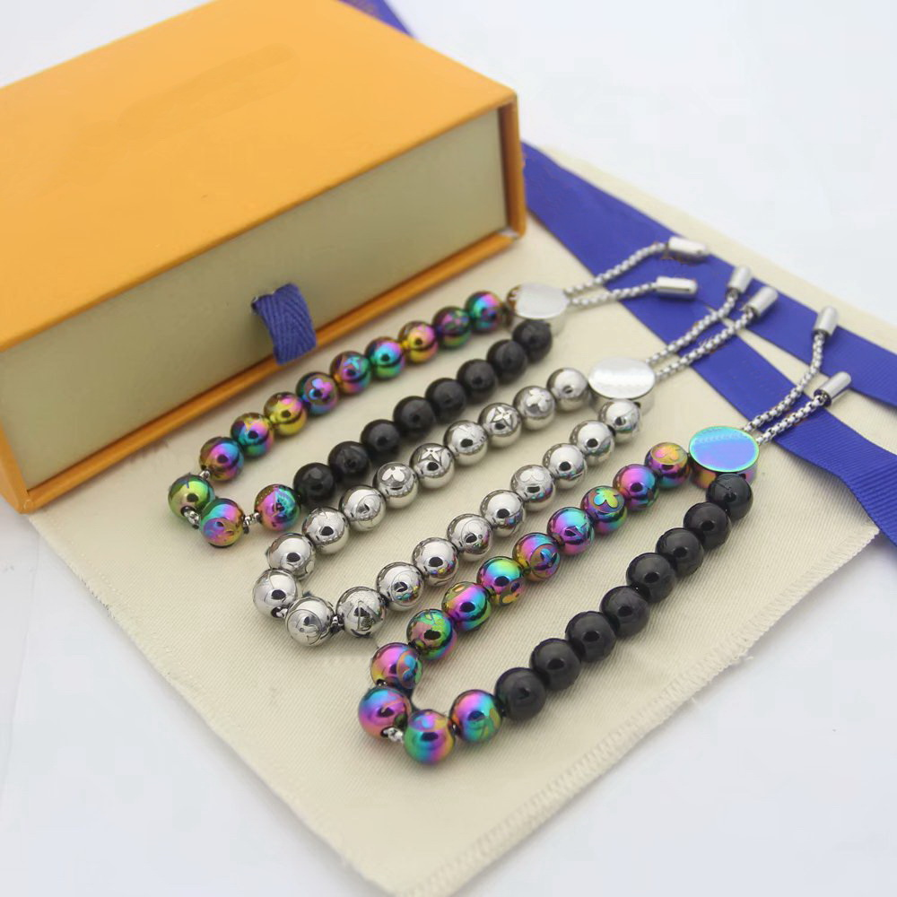 Hot Sale Fashion Style Men Lady Pull-type Colored Steel Ball V Letter Carved Flower Round Beads Chain Bracelets 3 Color