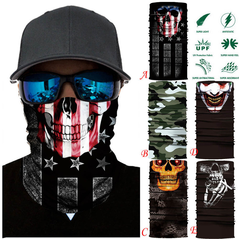 Skull Face Mask Scarf Halloween Party Face Mask Bike Face Mask Ghost Balaclava Masks Cycling Motorcycle Head Scarf Neck #F30ST02 (11)