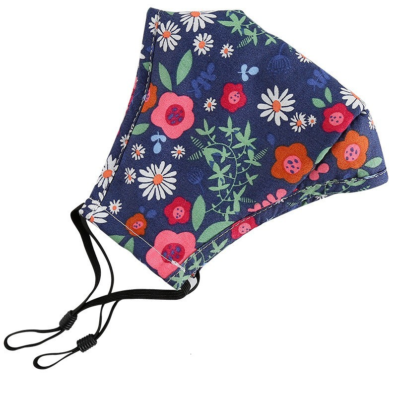 Floral Print Mask Breathable Foldable Mouth Masks Reusable Sunscreen Masks Face mask with filter Housekeeping Designer Mask MK67