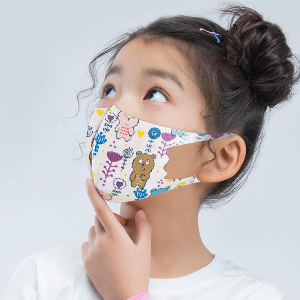 Kids Cartoon Printed Washable Face Mask Designer Fashion Masks Breathable Anti Dust Respirator Anti-bacterial Reusable Silk Ice Child