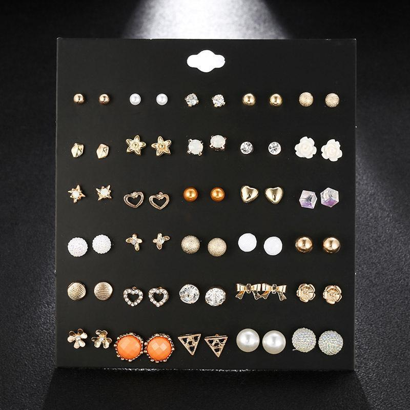 Hot sell 30 styles creative ear studs fashion flower crystal rhinestone pearl ear studs new pearl earrings