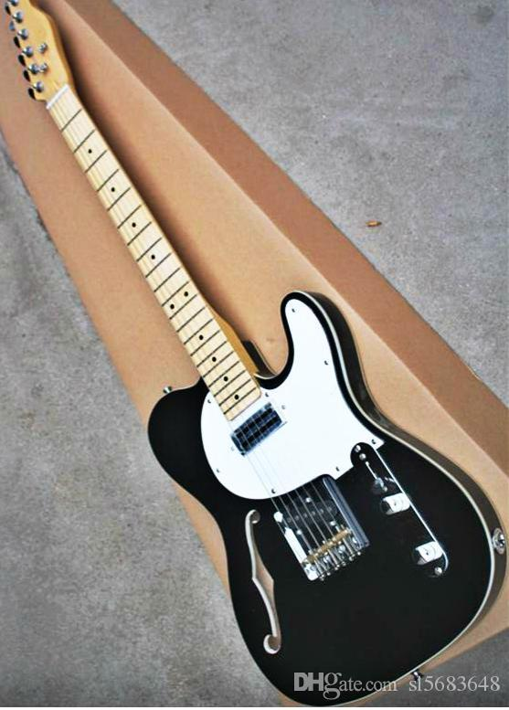 ! wholesale Top quality black color white plate F hollow body maple fretboard TL electric guitar 190904