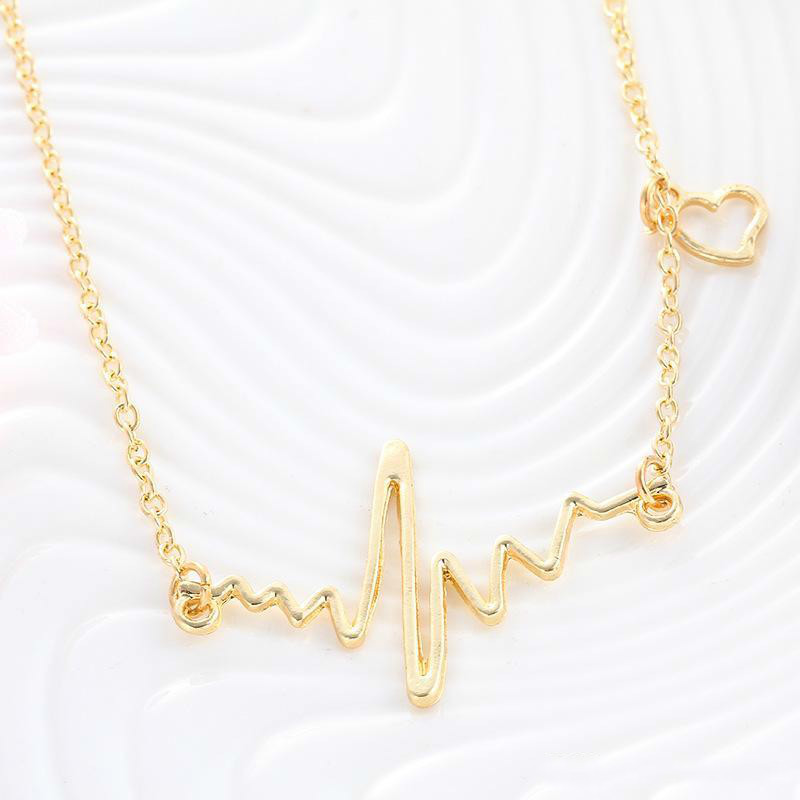Fashion simple notes ECG heart frequency collarbone necklace heart feel pendants sweater necklace women wholesale