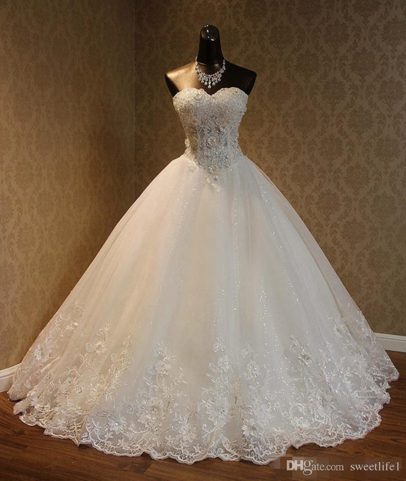 2019 Cheap Real Image A Line Wedding Dresses Sweetheart Lace Appliques Lace Up Beaded Princess Vintage Garden Country Wedding Bridal Gowns