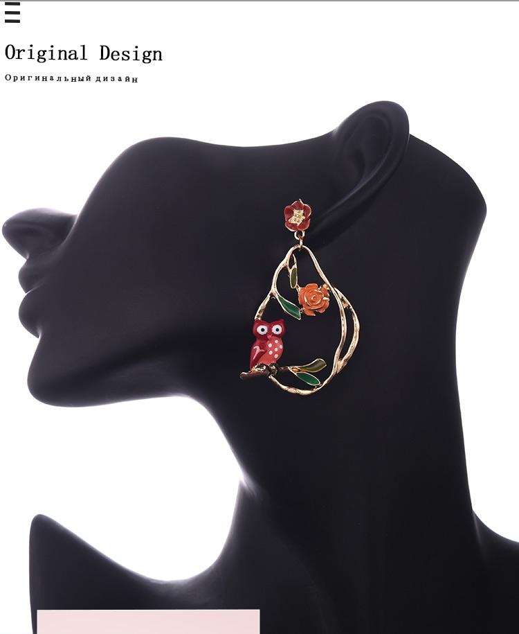 2020 Drop Earring Hanging Flowers Bird Owl Statement Jewelry Summer Bohemian Long Big Gold Tassel Earrings for Women Lady Party