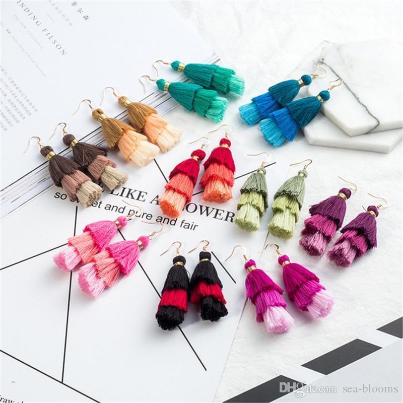 Fashion Tassel Earrings Wool Multi-Layered Earrings Bohemian Long Earrings Jewelry For Women Girls Wholesale D923S