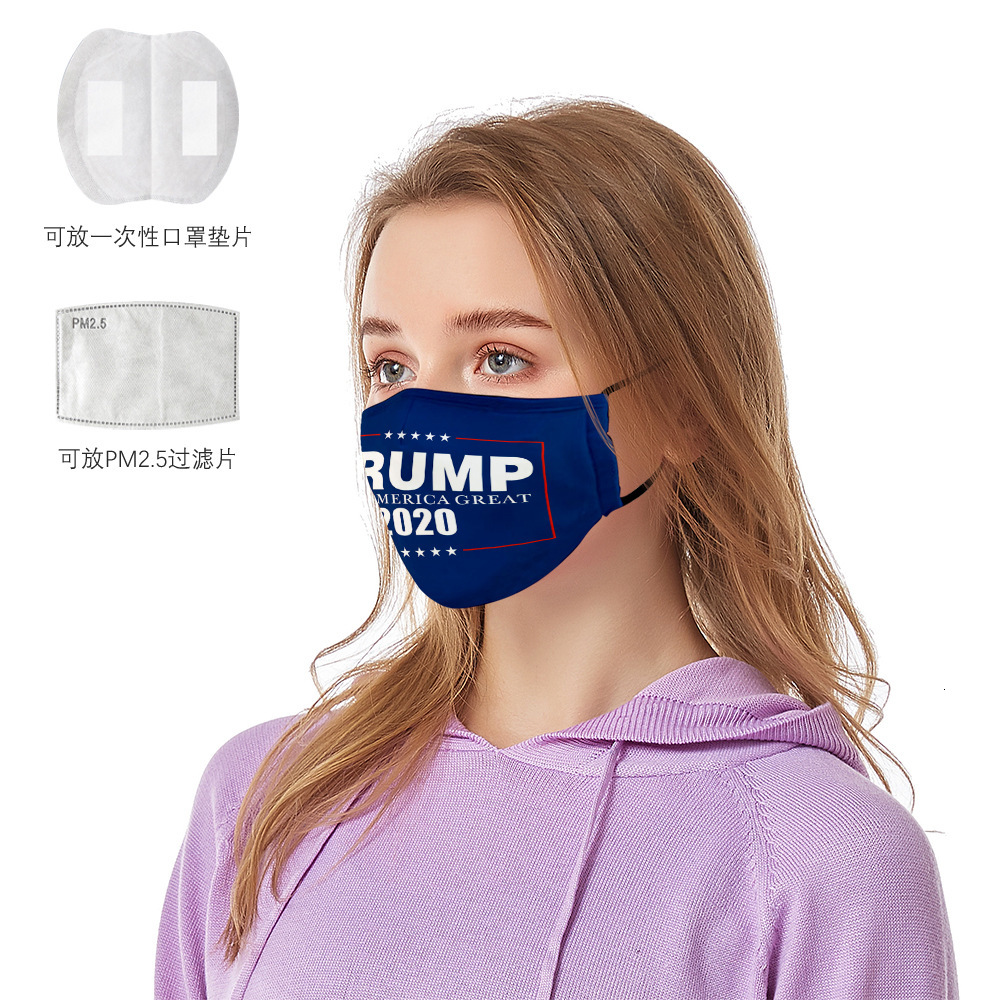 Stock Trump 2020 Face Masks With Filter Slot American Election Dustproof Protective masks US Flag Fashion Cotton Face Masks FY9161