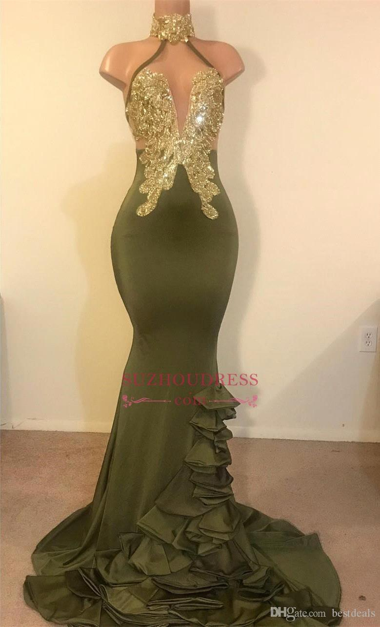 Reflective Mermaid Olive Green Prom Dresses Halter Neck Gold Appliques Backless Stretchy Satin Ruffled Evening Gowns Custom Made Party Dress
