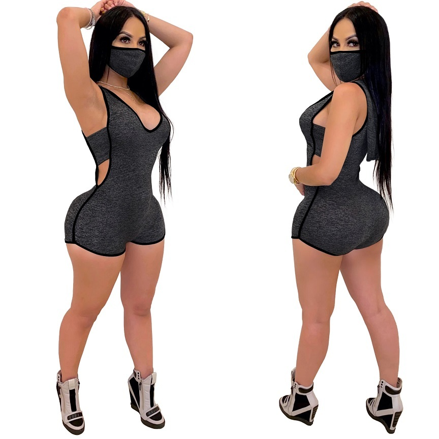 Womens gym hoodie Rompers with face mask V neck sleeveless hollow out shorts Bodysuit Jumpsuits nightclub Onesies plus size clothing