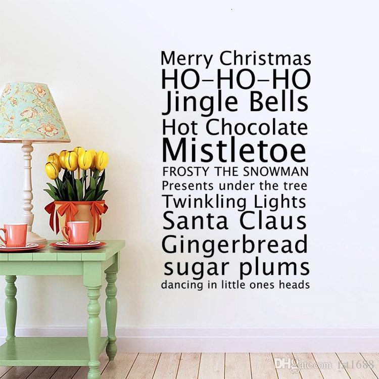 aw9445 Merry Christmas Vinyl Wall Stickers Vinyl Xmas Jingle Bells Quote Removeable Decal for Baby Kids Shop Window