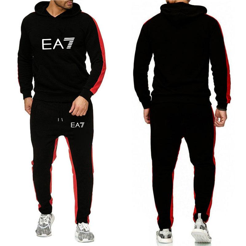 2020 Design Men's Fashion Tracksuit Casual Sportsuit Men Hoodies Sweatshirts Sportswear 2 Piece Coat+Pant Men Set