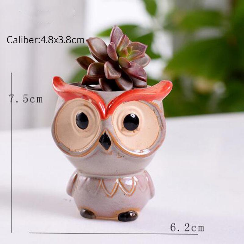 6 Pcs-set Mini Owl Flowerpot Plant Flower Pot Home Office Decor Planter Succulent Cactus Bonsai Plant Holder Garden decoration (9)