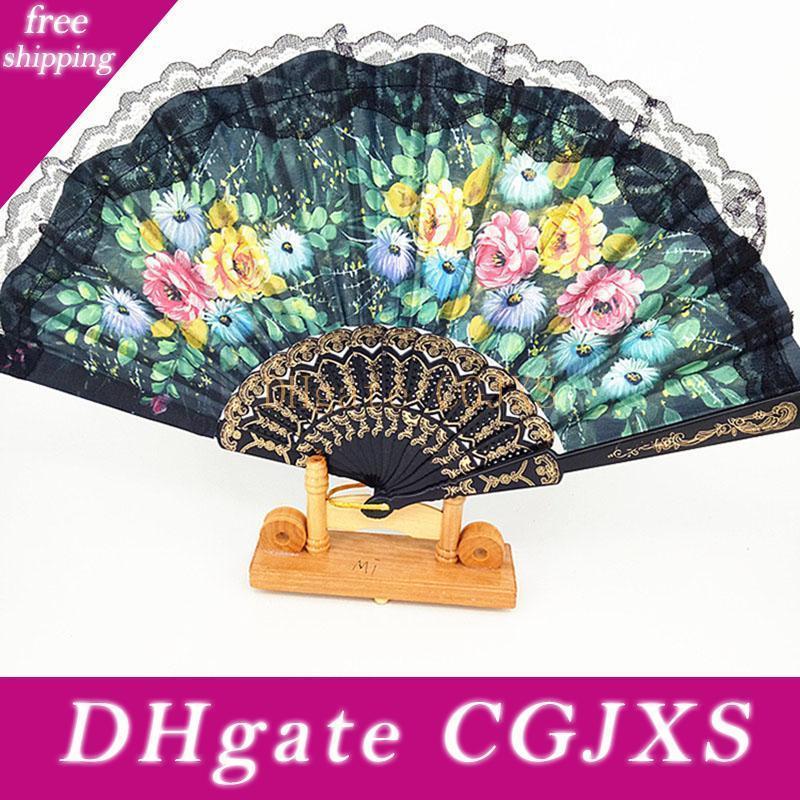 Dance Folding Fan,Floral Folding Hand Fan,Vintage Retro Pattern Fabric Fans ,Wedding Dancing Church Party Gifts,Decoration