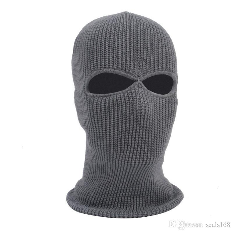 New Knit Face Mask 3 Hole Ski Mask Balaclava Hood Motorbike Motorcycle Helmet Hat Face Shield Beanie Cap HH9-2975