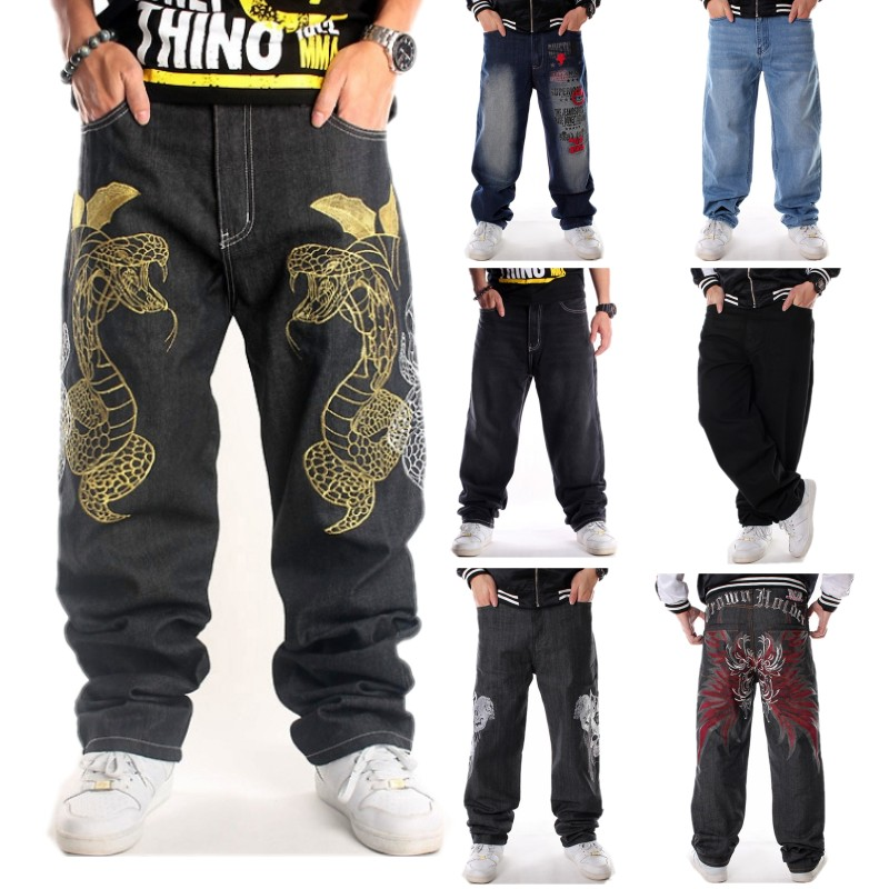 Plus Size Men/'s Jeans Baggy Casual Hip Hop Pants Denim Trouser Embroidery W30-46
