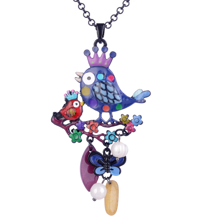 Cring Coco Jewelry Couple Birds Tree Statement Necklaces & Pendants Fashion Collar Female Necklace 2020 Wholesale Birthday Gifts