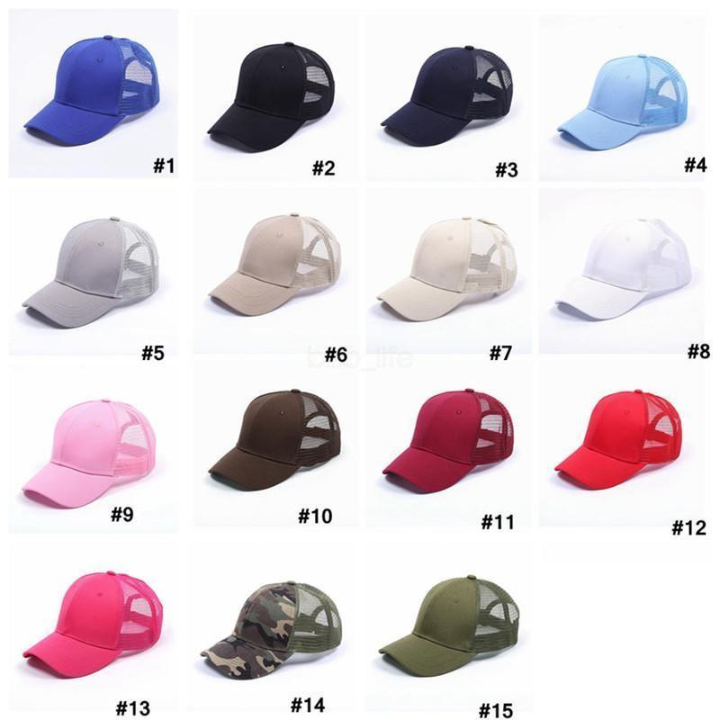 plain solid Ponytail Baseball Cap Messy Buns hat Trucker Pony caps unisex Visor Cap Dad Hat mesh summer outdoor Snapbacks T0439