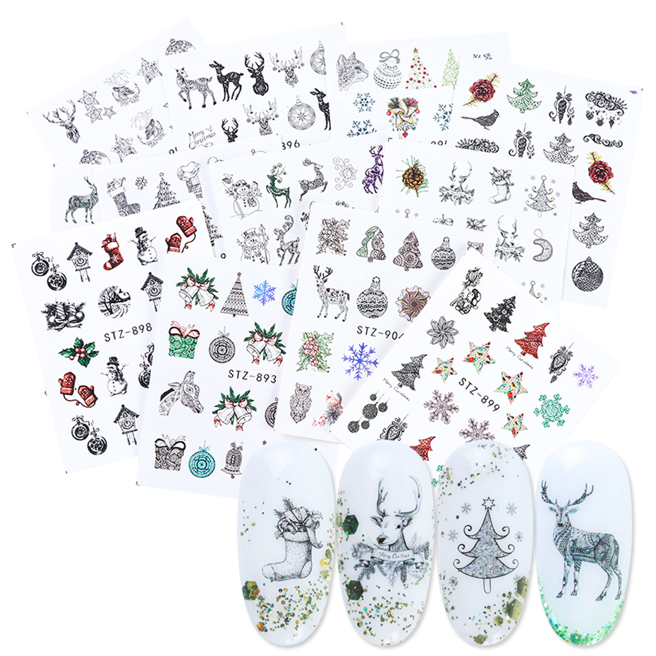 12pc Christmas Nail Art Sticker Full Wraps Set New Year Decal Winter Snowflake Snowman Elk Manicure Nail Decoration 1