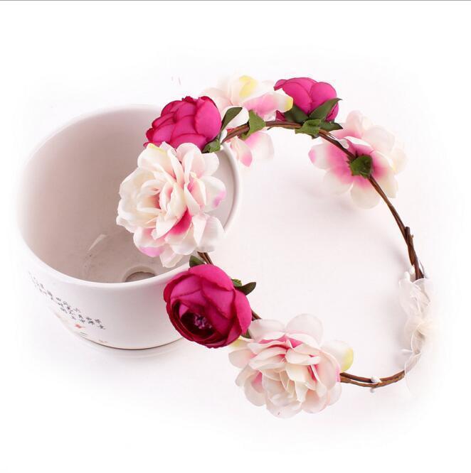 Eco-Friendly Bohemia Handmade Flower Crown Wedding Wreath Bridal Headdress Headband Hairband Hair Band Accessories for Women Lady