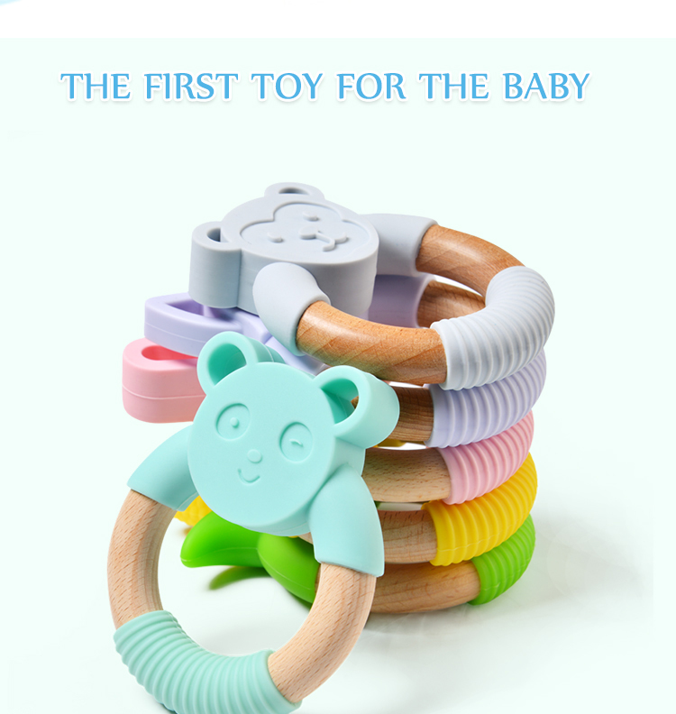 High Quality Bpa Free Food Grade Baby Toy Silicone Teether Wooden Frog Teething Ring