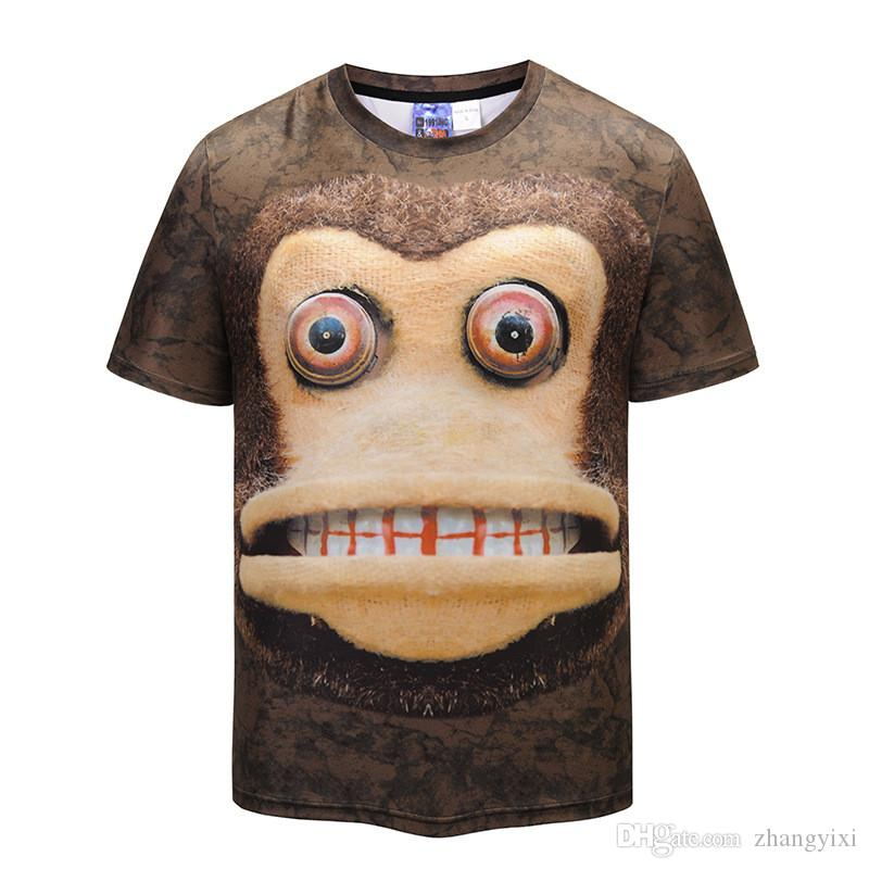 Wholesale Fashion Men 3D Colorful Printed Monkey Animal t shirts Homme Tees Tops High Quality Clothes