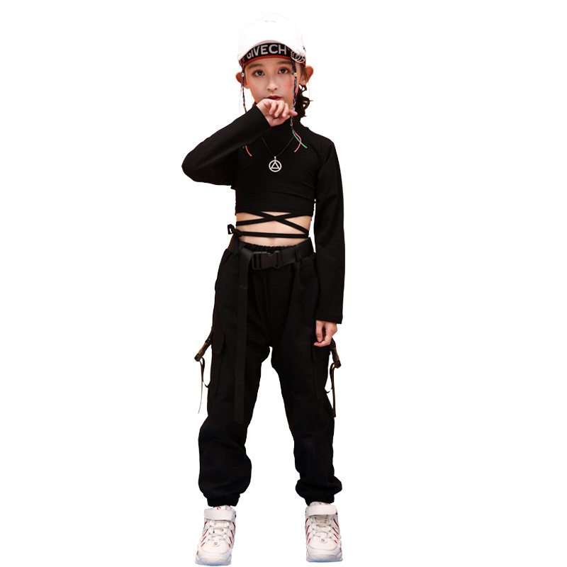 Kids Hip Hop Clothing High Neck Sweatshirt Shirt Top Crop Black Running Casual Pants for Girl Jazz Dance Costume Dancing Clothes (5)