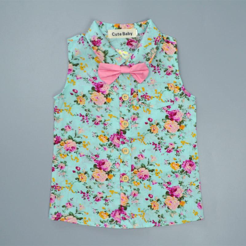 R-Z-2018-Summer-New-Boys-Set-Casual-Floral-Sleeveless-Bow-Shirt-Shorts-Children-s-Set