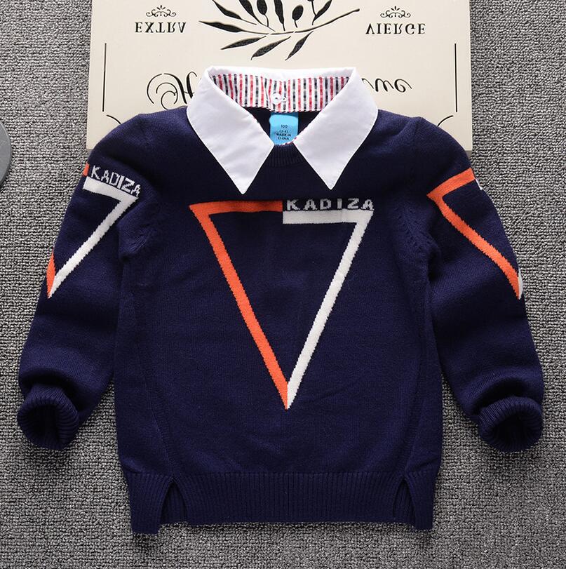 2017 Autumn Winter New Shirt collar Plaid Kids Boys Sweater Children Clothing Baby boy Cotton thick wool top Jumper Pullover