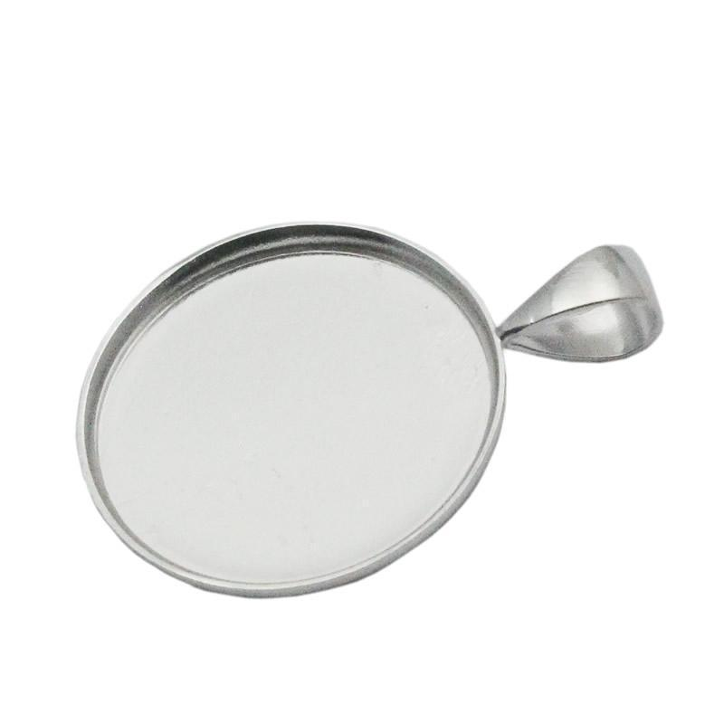 Beadsnice 19mm round pendant tray 925 sterling silver circle bezel setting for coin wholesale jewelry findings ID 33827